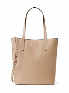 Michael Kors Emry Large Leather Tote Shoulder Bag Bisque Light Brown Tan Rhodium…