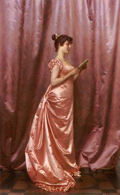 "Vittorio Reggianini (1858-) Elegant Lady in Pink Oil on canvas 57.2 x 94 cm (22.52"" x 3' 1.01"")"