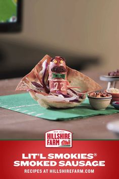 """""""It's game day, so Make Things A Lit'l More Interesting™ with this Lit'l Smokies® Smoked Sausage wonton appetizer recipe. Then turn this Lil Smokie toward the tv so he can see the score. Potato Recipes, Pork Recipes, Chicken Recipes, Cauliflower Recipes, Ceviche Recipe, Guacamole Recipe, Manhattan Recipe, Halibut Recipes, Bloody Mary Recipes"""