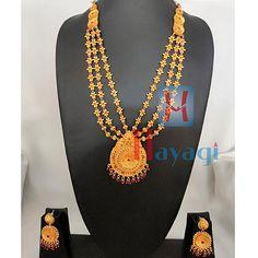 1 Gram Haar in Geru Finish 1 Gram Gold Jewellery, Gold Jewellery Design, Temple Jewellery, Gold Jewelry, Necklace Set, Jewerly, Bangles, Pendants, Traditional