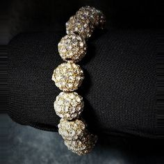Sparkly Beaded Disco Ball Bling Crystal - White Shamballa Bead Stretch Pave Bracelet w/bonus Faux Pearl bracelet