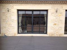 purchase of custom aluminum sliding patio doors in Bordeaux Architecture Renovation, Bordeaux, House Plants Decor, Sliding Patio Doors, Amazing Architecture, Home Living Room, Facade, Windows, Saint Emilion