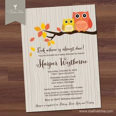 Baby Shower Invitation Owl - Little Owls in Tree - Wood, Woodgrain - Fall Autumn - Boy, Girl, Twins, Gender Neutral (Digital Printable) on Etsy, $15.99