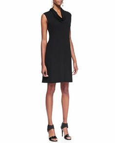 T7NAL Eileen Fisher Sleeveless Cowl-Neck Dress, Black - $178