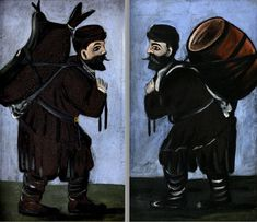Niko Pirosmani - Workers with a barrel (diptych), 1912. WikiArt.org