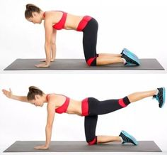How to get toned abs in 2 weeks? Practice bird dog exercise for abs. Abs workout challenge for fitness lover. Fitness Workouts, Ab Workouts, At Home Workouts, Fitness Motivation, Quick Workouts, Cardio, Stability Exercises, Thigh Exercises, Core Exercises