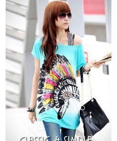 Blue Korean Women Fashion Indian Avatar Printed Long