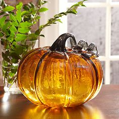 This Large Pumpkin Art Glass Figurine from Lenox is a perfect way to decorate for Fall ~ along side all my other glass pumpkins! Thank you very much Betty for my of glass pumpkins! Autumn Day, Hello Autumn, Autumn Home, Large Pumpkin, Pumpkin Art, Glass Pumpkins, Fall Pumpkins, Autumn Decorating, Decorating Pumpkins
