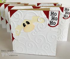 handmade 3x3 Santa card ... punch art styling ... luv the embossing folder texture for his beard ...