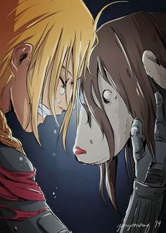 "Ed– ""We're not gods. We're humans. Tiny insignificant humans… who couldn't even save a little girl.""  (Edward Elric and Nina Tucker)         _Fullmetal Alchemist Brotherhood  Esto siempre va a doler T-T"