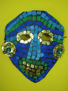 3rd grade ancient Mayan mask; lesson designed by art teacher: Susan Joe
