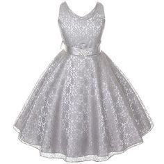 40.00$  Buy now - http://viqxu.justgood.pw/vig/item.php?t=zjxavik21572 - Silver Sleeveless Lace V-Neck Flower Girl Pageant Birthday Wedding Formal Dress