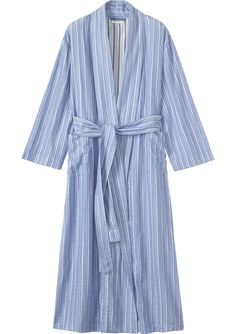 TOAST DOUBLE FACED ROBE | Long, soft flannel gown faced in pretty stripes. Two patch pockets.