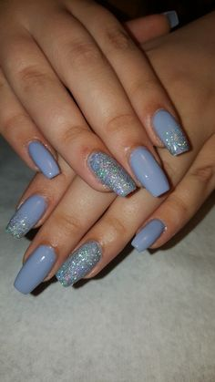 In seek out some nail designs and some ideas for your nails? Here's our set of must-try coffin acrylic nails for modern women. Simple Acrylic Nails, Summer Acrylic Nails, Blue Acrylic Nails Glitter, Glitter Makeup, Silver Glitter, Aycrlic Nails, Swag Nails, Coffin Nails, Nagellack Design