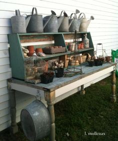 25 Cool DIY Garden Potting Table Ideas. Great reuse of old, beat-up furniture that might not be fully salvageable. :)
