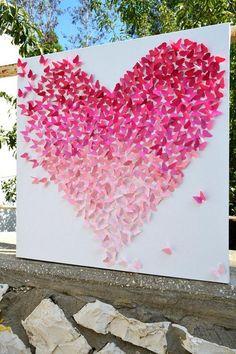 Pink Ombre Butterfly Heart Wedding Backdrop / http://www.deerpearlflowers.com/40-romantic-pink-wedding-ideas-for-springsummer-wedding/