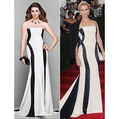 Formal Evening Dress - Multi-color Plus Sizes / Petite A-line Strapless Court Train Jersey – USD $ 79.99