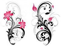 The one on the left is actually my neck tattoo, but with one more flower at the top and the flowers are different colors. Purple, red, and pink....