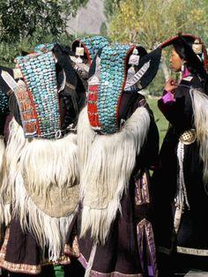 Ladakhi Women in Traditional Clothing, Yak-Skin Coat and Turquoise Head Dress, Ladakh, India