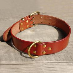 Full Grain Leather Dog Collars with D Ring & Buckle