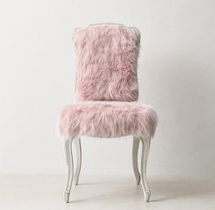 RH TEEN& Sophie Kashmir Faux Fur Desk Chair - Dusty Rose:A classic Louis XV silhouette is given an extra dose of glamour when upholstered in faux fur. The comfortable frame features a gracefully carved apron and cabriole legs. Glam Bedroom, Bedroom Decor, Bedroom Ideas, Comfy Bedroom, Canopy Bedroom, Pink Desk, Pink Faux Fur, Beauty Room, My New Room