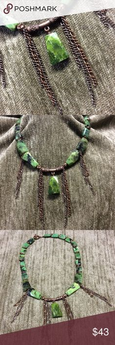 """Chrysoprase and Copper necklace Faceted nuggets of Chrysoprase and puffed nuggets interspersed with a copper center bar, copper rings and chain.  Toggle clasp is also copper.  Measures approx 17"""" and the longest chain drop 3"""".  EUC Jewelry Necklaces"""