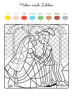 Wenn Ihr Kind das ganze Motiv auf der kostenlosen Vorlage mit den Farben ausgema… If your child has painted the whole motif on the free template with the colors that are assigned to the numbers, a pair of princes comes to the fore! Wedding Coloring Pages, Colouring Pages, Coloring Sheets, Coloring Books, Kids Table Wedding, Wedding Reception Games, Wedding With Kids, Kids Wedding Activities, Educational Activities For Kids
