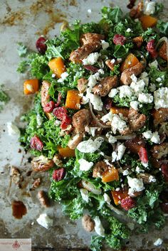 Kale Salad with Roasted Pumpkin, Cranberries and Goat Cheese | via Heather Christo