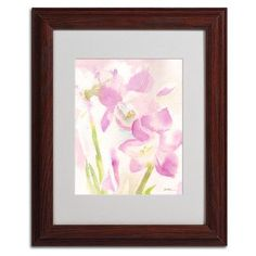 """Trademark Art """"Amaryllis Blossoming"""" by Sheila Golden Framed Painting Print Size: 14"""" H x 11"""" W x 0.5"""" D, Frame Color: Brown"""