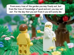 """The Brick Testament"". The scriptures as told through Legos. THIS IS THE MOST AWESOME THING EVER!!! God looks like White Gandalf/Dumbledore with a bad bowl cut. @Yvonne Carpenter this is definitely up your alley. Maybe Trixie could join in!"