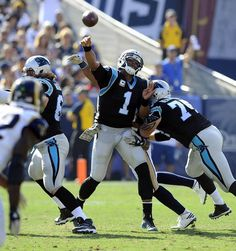 Panthers vs. Rams:  13-10, Panthers  -     Carolina Panthers quarterback Cam Newton (1) passes downfield against the Los Angeles Rams in the first half at Los Angeles Memorial Coliseum in Los Angeles, CA on Sunday, November 6, 2016. The Panthers won, 13-10.