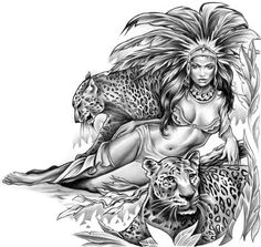 Aztec Queen with Jaguar Tattoo Tattoos Aztec Drawing, Tattoo Painting, Aztec Tattoo Designs, Latino Art, Aztec Culture, Lowrider Art, Fu Dog, Geniale Tattoos, Aztec Art