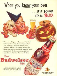 Charmingly spooky 1953 ad for Budweiser Beer. #beer #Budweiser #vintage #Halloween #ad #costume #mask #food #drinks #pumpkin
