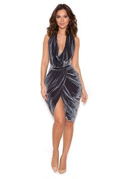 Clothing : Bodycon Dresses : 'Medea' Silver Velvet Side-Boob Drape Dress