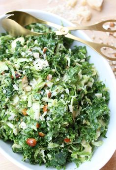 Shredded Brussels Sprout Kale Salad with Maple Dijon Dressing