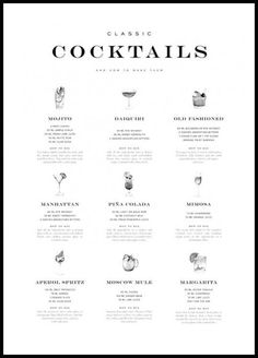 We all need this poster in our kitchen. - We all need this poster in our kitchen. This means that classic cocktails such as Mojito, Daiquiri, - Cocktails Bar, Cocktail Menu, Classic Cocktails, Gin Poster, Poster Xxl, Moscow Mule, Mojito, Guide Vin, Wine Guide