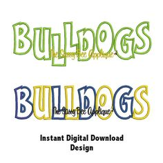 DD BULLDOGS Team Name Applique - Machine Embroidery Design - 3 Sizes - Straight & Staggered Lettering - Instant Download