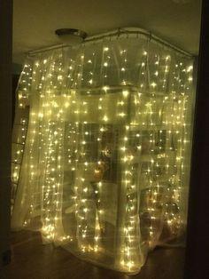 fairy-lights-around-a-loft-bed | DIY Ikea Hacks for Teen Bedroom