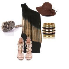 Stylizacja inspirowana JLo. Krótka sukienka z frędzlami, która dodaje kobiecości i seksapilu. Do tego beżowe, wysokie sandałki i duży kapelusz, doda Ci tajemniczości i oryginalności.
