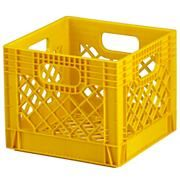 Milk crates can be spayed with plastic outdoor furniture spray.  Screw bottoms to the wall for off the floor storage.