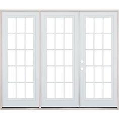"""8'0"""" Wide 15-Lite Steel Patio Triple Door French Unit"""