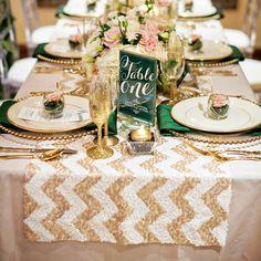 Champagne/white chevron sequin table runner | Manor SImply Smashing Home Decor | shopthemanor.com