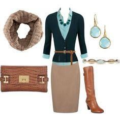 Camel skirt, Aqua shirt, navy cardigan, tan tall boots.