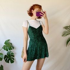 Beautiful vintage green velvet slip dress by Victoria's in a - Depop Source by dianialvarez Dresses Green Dress Outfit, Dress Outfits, Casual Outfits, Fashion Outfits, Velvet Slip Dress Outfit, Velvet Outfits, Green Velvet Dress, Green Dress Casual, Aesthetic Fashion