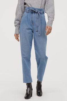 Calça Jeans Cintura Alta Com Botões Forrados Jeans Branco