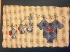 Welcome a new baby card, pattern from Cross Stitcher Magazine (although I added the DC flag on the onesie!)