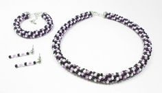 Lavender Black and White Kumihimo Jewelry Set by kiddercreations, $70.00