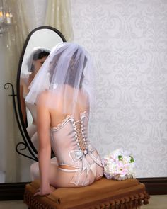 BRIDES! Imagine how your Groom's face will light up when he receives a beautifully framed photograph of you, his Bride, wearing only (painted on) lingerie! So unique and sexy!