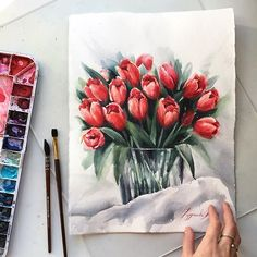 New flowers watercolor art illustrations 15 Ideas Tulip Painting, Watercolour Painting, Painting & Drawing, Watercolor Water, Watercolor Flowers, Drawing Flowers, Flower Sketches, Plant Drawing, Arte Floral