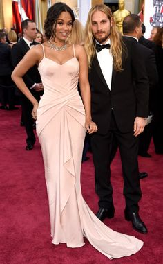 Zoe Saldana & Marco Perego from 2015 Oscars: Red Carpet Arrivals   E! Online ATELIER VERSACE